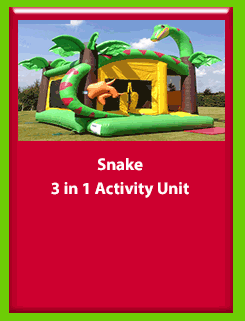 Snake - 3 in 1 Activity Unit for Hire in Carrick-on-Shannon, Leitrim, Longford and Roscommmon in Ireland. Phone us on 0894258578 today to book this unit.