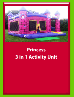 Princess - 3 in 1 Activity Unit for Hire in Carrick-on-Shannon, Leitrim, Longford and Roscommmon in Ireland. Phone us on 0894258578 today to book this unit.
