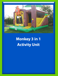 Monkey - 3 in 1 Activity Unit for Hire in Carrick-on-Shannon, Leitrim, Longford and Roscommmon in Ireland. Phone us on 0894258578 today to book this unit.