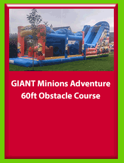 GIANT Minions Adventure 60ft Obstacle Course for Hire in Carrick-on-Shannon, Leitrim, Longford and Roscommmon in Ireland. Phone us on 0894258578 today to book this unit.