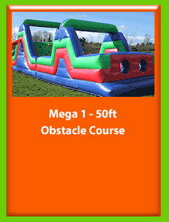 MEGA 1 50ft x 12ft Obstacle Course for Hire in Carrick-on-Shannon, Leitrim, Longford and Roscommmon in Ireland. Phone us on 0894258578 today to book this unit.