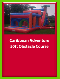 Caribbean Adventure 50ft Obstacle Course for Hire in Carrick-on-Shannon, Leitrim, Longford and Roscommmon in Ireland. Phone us on 0894258578 today to book this unit.