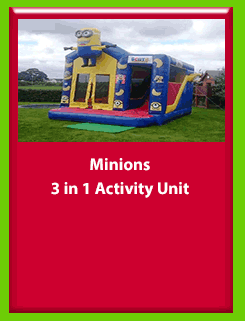 Minions 3 in 1 Activity unit for Hire in Carrick-on-Shannon, Leitrim, Longford and Roscommmon in Ireland. Phone us on 0894258578 today to book this unit.