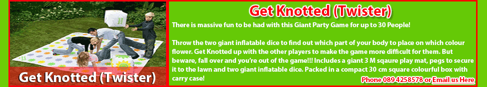 Giant Get Knotted Twister Garden Game For Hire - Giant Garden Games for Hire including Quoits, Giant Snakes and Ladders, Get Knotted (Twister) in Carrick-On-Shannon, Leitrim, Longford and Roscommon. Call us today on 0894258578 to hire these Giant Garden Games