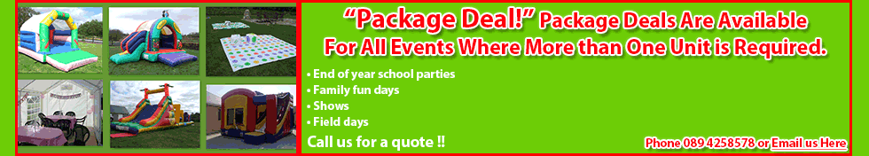 Package Deal One: Two Bouncy Castles for Hire for €195!